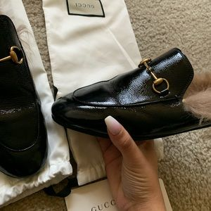 Gucci women's patent leather mules size 40